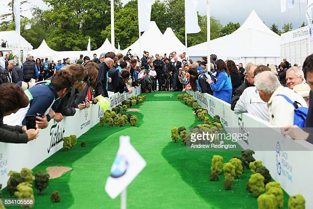 Thongchai Jaidee of Thailand putts at the launch of the Totally Mega Putt Challenge initiative in the Championship Village prior to the BMW PGA...