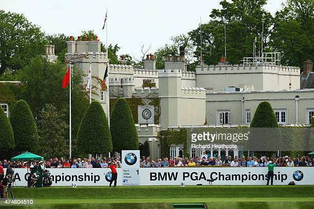 Thongchai Jaidee of Thailand tees off on the 1st hole during day 4 of the BMW PGA Championship at Wentworth on May 24 2015 in Virginia Water England