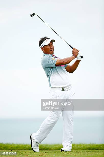 Thongchai Jaidee of Thailand watches his tee shot on the third hole during the first round of the 2015 PGA Championship at Whistling Straits on...