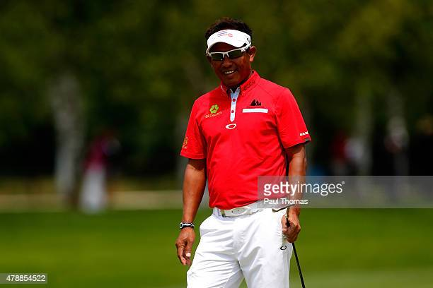 Thongchai Jaidee of Thailand watches on after putting during the BMW International Open day four at the Eichenried Golf Club on June 28 2015 in...