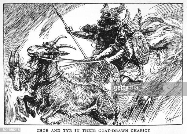 Thor and Tyr in their GoatDrawn Chariot' 1925 From The Book of Myths by Amy Cruse 1925