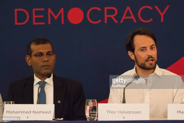 Thor Halvorssen founder o the Oslo Freedom Forum sitting next to the democratically elected president of the Maldives who was later deposed by a coup...