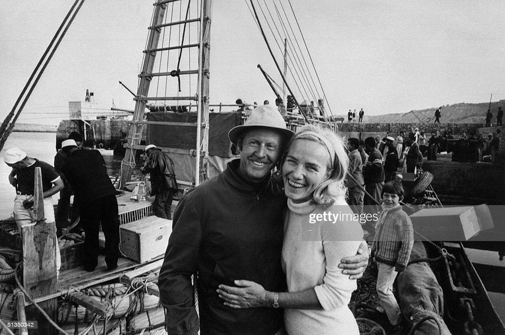 <a gi-track='captionPersonalityLinkClicked' href=/galleries/search?phrase=Thor+Heyerdahl&family=editorial&specificpeople=931459 ng-click='$event.stopPropagation()'>Thor Heyerdahl</a>, the Norvegian explorer famed for his 1947 Kon Tiki raft expedition across the Pacific, and his wife, smile 30 May 1969 in Moroccan harbour of Safi in front of 'Ra', a replica of an ancient-style vessel made of papyrus, prior to his expedition across the Atlantic Ocean. Heyerdahl embarked under the UN flag with a crew of seven men from seven countries and sailed 5000 km (2700 nautical miles) in 56 days until storm and deficiencies in the construction caused the team to abandon their target only one week short of Barbados. This voyage showed that modern science under-estimated long forgotten aboriginal nautical technologies. The theory that Mediterranean vessels built prior to Columbus could not have crossed the Atlantic was thrown on its head.