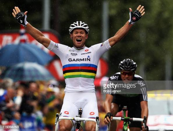 Thor Hushovd of Norway and Team GarminCervelo celebrates winning as ...