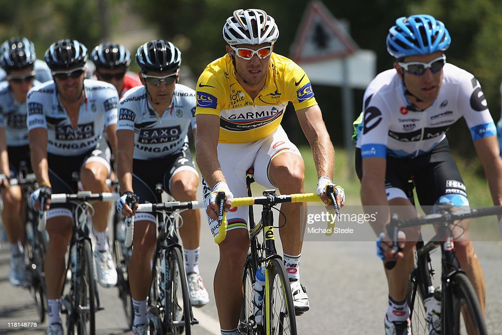 <a gi-track='captionPersonalityLinkClicked' href=/galleries/search?phrase=Thor+Hushovd&family=editorial&specificpeople=534471 ng-click='$event.stopPropagation()'>Thor Hushovd</a> of Norway holder of the yellow jersey and team Garmin holder of the yellow jersey during Stage 3 of the 2011 Tour de France from Olonne sur Mer to Redon on July 4, 2011 in Redon, France.
