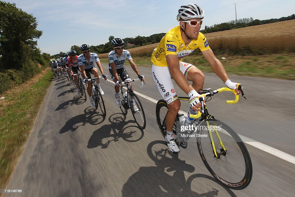 Thor Hushovd of Norway holder of the yellow jersey and team Garmin holder of the yellow jersey during Stage 3 of the 2011 Tour de France from Olonne sur Mer to Redon on July 4, 2011 in Redon, France.