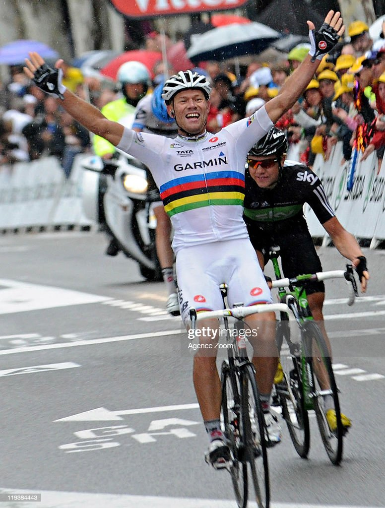 <a gi-track='captionPersonalityLinkClicked' href=/galleries/search?phrase=Thor+Hushovd&family=editorial&specificpeople=534471 ng-click='$event.stopPropagation()'>Thor Hushovd</a> of Team Garmin - Cervelo during Stage 16 of the Tour de France on July 19, 2011 from Saint-Paul-Trois-Chateaux to Gap, France.