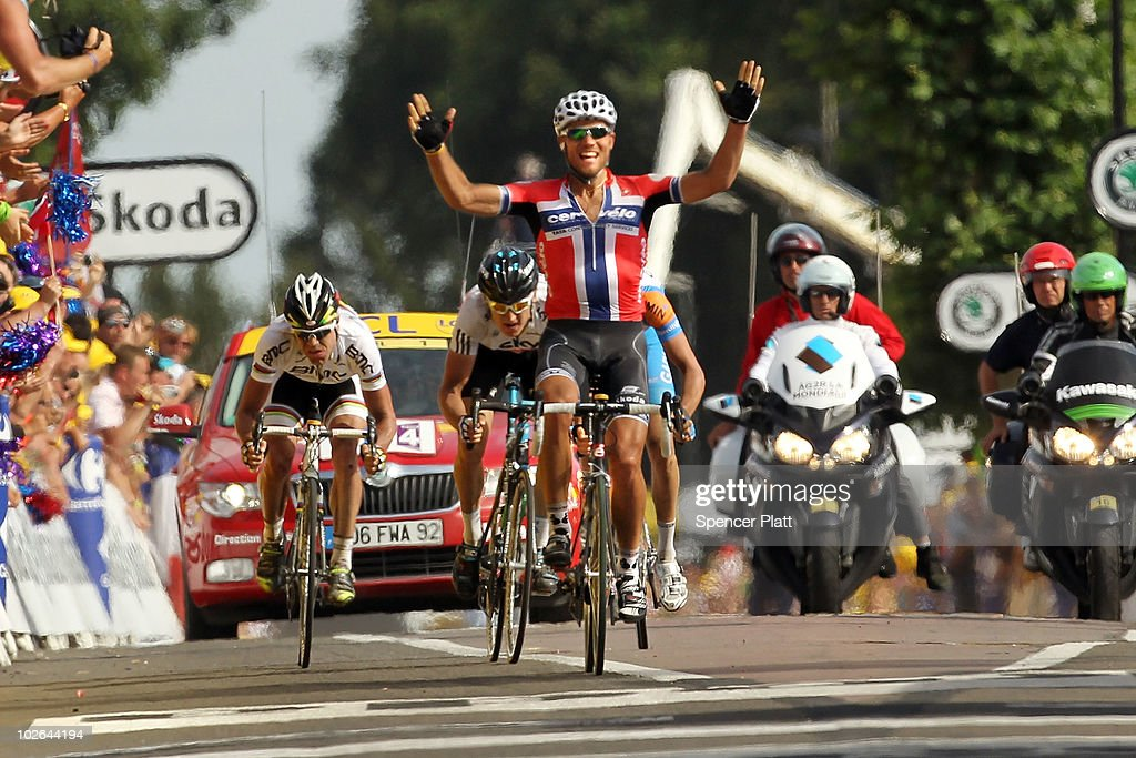 <a gi-track='captionPersonalityLinkClicked' href=/galleries/search?phrase=Thor+Hushovd&family=editorial&specificpeople=534471 ng-click='$event.stopPropagation()'>Thor Hushovd</a> of the Canadian-owned Cervelo TestTeam sprints to the finish along the 213km stage three of the Tour de France on July 6, 2010 in Arenberg, France. Husvovd beat Great Britain's Geraint Thomas in the sprint. The stage featured just over 13km of technically demanding cobblestones. Following yesterday`s crash marred stage in which dozens of riders fell multiple times, Swiss rider Fabian Cancellara is back in the yellow jersey. The iconic bicycle race will include a total of 20 stages and will cover 3,642km before concluding in Paris on July 25.