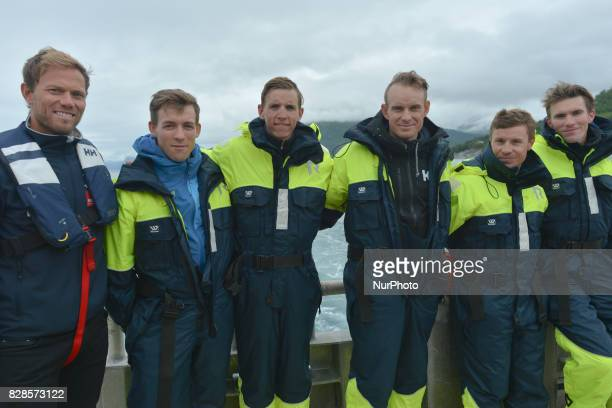 Thor Hushovd with Kristoffer Halvorsen Dylan Teuns Alexander Kristoff Damiano Cunego and Yoann Offredo during a Top Riders media fishing trip on the...