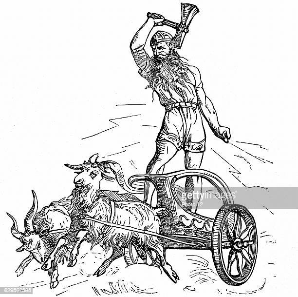 Thor son of Woden or Odin the second god in the ancient Scandinavian pantheon riding in chariot drawn by goats and wielding his hammer symbolising...