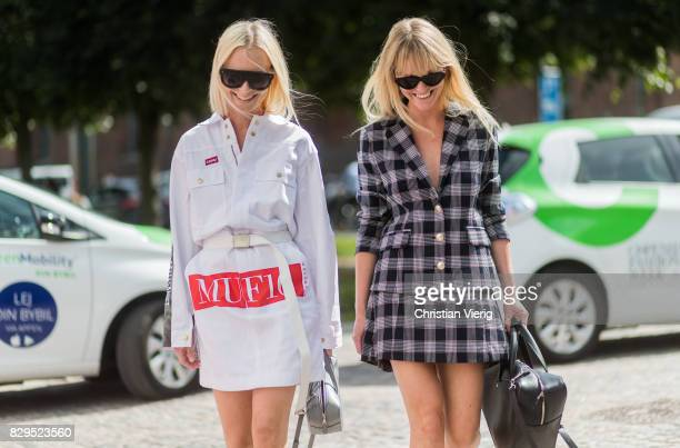 Thora Valdimars wearing MUF 10 and Balenciaga bag and Jeanette Madsen outside Baum Und Pferdgarten on August 10 2017 in Copenhagen Denmark