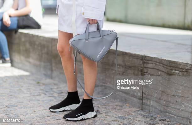 Thora Valdimars wearing MUF 10 and Balenciaga bag outside Baum Und Pferdgarten on August 10 2017 in Copenhagen Denmark