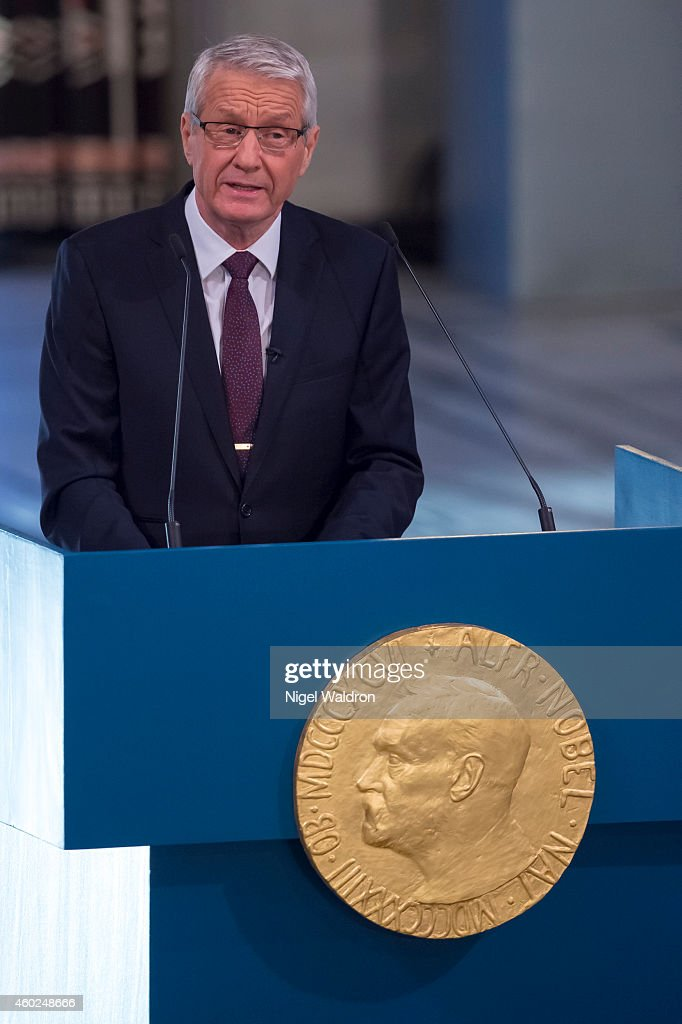 <a gi-track='captionPersonalityLinkClicked' href=/galleries/search?phrase=Thorbjorn+Jagland&family=editorial&specificpeople=862853 ng-click='$event.stopPropagation()'>Thorbjorn Jagland</a> of Norway speaks to the audience and honour this year Nobel Peace Prize winners Kailash Satyarthi and Malala Yousafzai. at The Nobel Peace Prize Cer on December 10, 2014 in Oslo, Norway.
