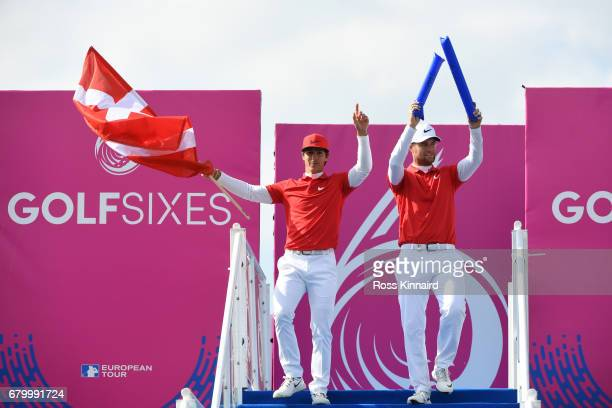 Thorbjorn Olesen and Lucas Bjerregaard of Denmark descend to the 1st tee prior to the final match between Denmark and Australia during day two of...
