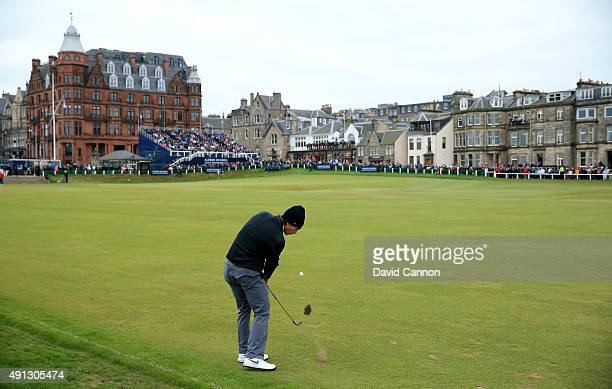Thorbjorn Olesen of Denmark chips onto the 18th green during final round of the 2015 Alfred Dunhill Links Championship at The Old Course on October 4...