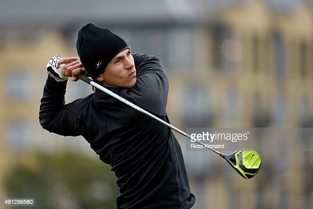 Thorbjorn Olesen of Denmark drives off the 18th tee during final round of the 2015 Alfred Dunhill Links Championship at The Old Course on October 4...