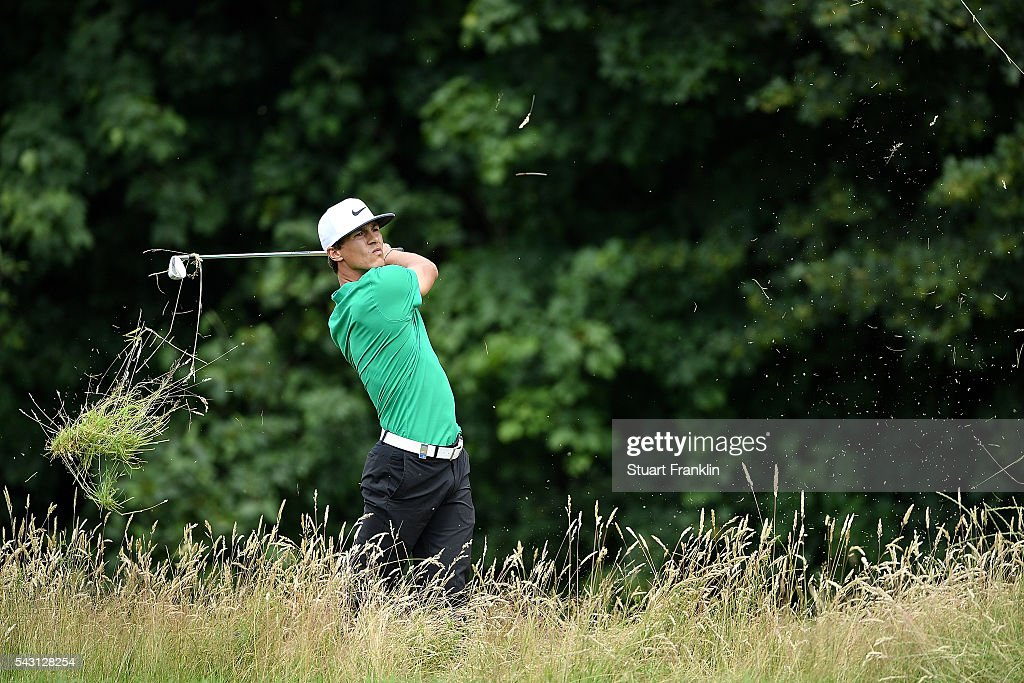 <a gi-track='captionPersonalityLinkClicked' href=/galleries/search?phrase=Thorbjorn+Olesen&family=editorial&specificpeople=6545194 ng-click='$event.stopPropagation()'>Thorbjorn Olesen</a> of Denmark hits from the rough during the final round of the BMW International Open at Gut Larchenhof on June 26, 2016 in Cologne, Germany.