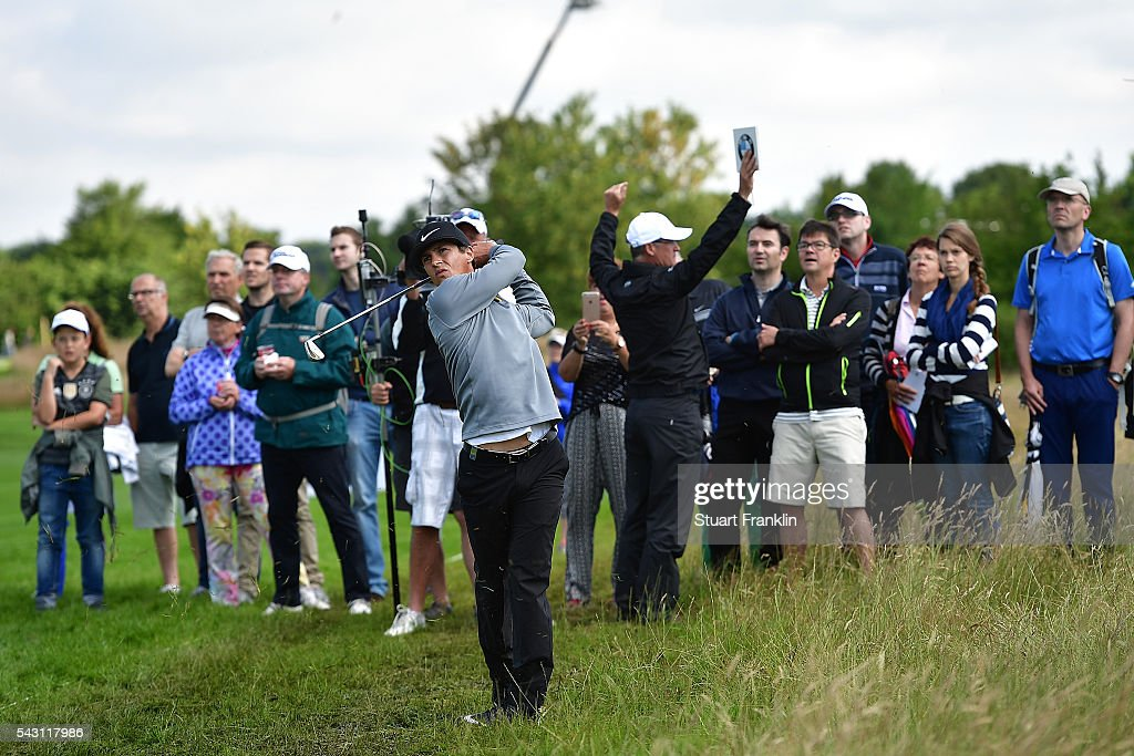 <a gi-track='captionPersonalityLinkClicked' href=/galleries/search?phrase=Thorbjorn+Olesen&family=editorial&specificpeople=6545194 ng-click='$event.stopPropagation()'>Thorbjorn Olesen</a> of Denmark hits from the rough during the rain delayed third round of the BMW International Open at Gut Larchenhof on June 26, 2016 in Cologne, Germany.