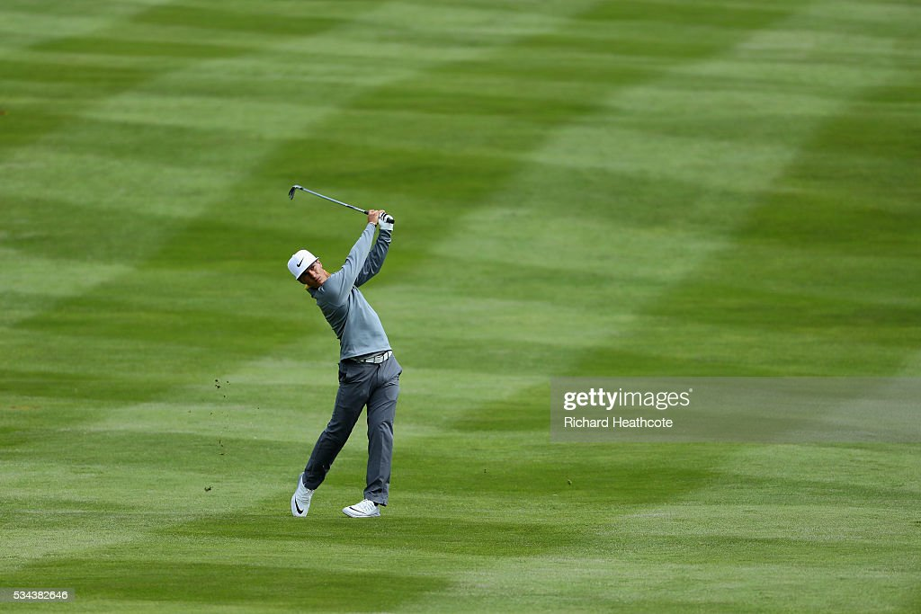 <a gi-track='captionPersonalityLinkClicked' href=/galleries/search?phrase=Thorbjorn+Olesen&family=editorial&specificpeople=6545194 ng-click='$event.stopPropagation()'>Thorbjorn Olesen</a> of Denmark hits his 2nd shot on the 4th hole during day one of the BMW PGA Championship at Wentworth on May 26, 2016 in Virginia Water, England.