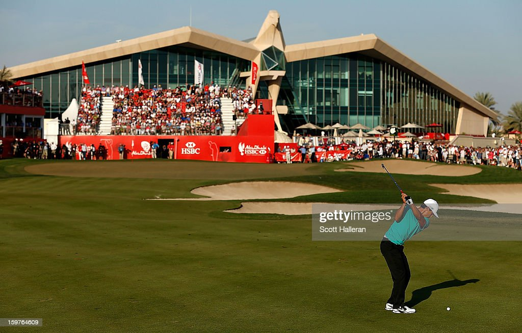 Thorbjorn Olesen of Denmark hits his approach shot on the 18th hole during the final round of the Abu Dhabi HSBC Golf Championship at Abu Dhabi Golf Club on January 20, 2013 in Abu Dhabi, United Arab Emirates.
