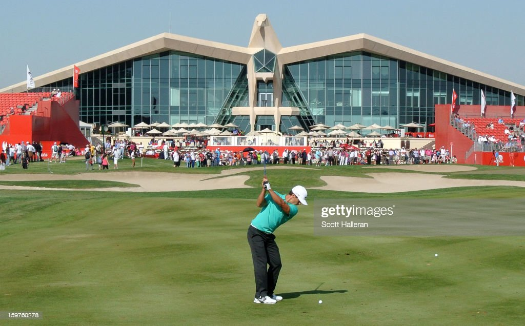 Thorbjorn Olesen of Denmark hits his approach shot on the ninth hole during the final round of the Abu Dhabi HSBC Golf Championship at Abu Dhabi Golf Club on January 20, 2013 in Abu Dhabi, United Arab Emirates.