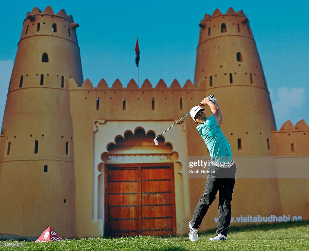 Thorbjorn Olesen of Denmark hits his tee shot on the 15th hole during the final round of the Abu Dhabi HSBC Golf Championship at Abu Dhabi Golf Club on January 20, 2013 in Abu Dhabi, United Arab Emirates.