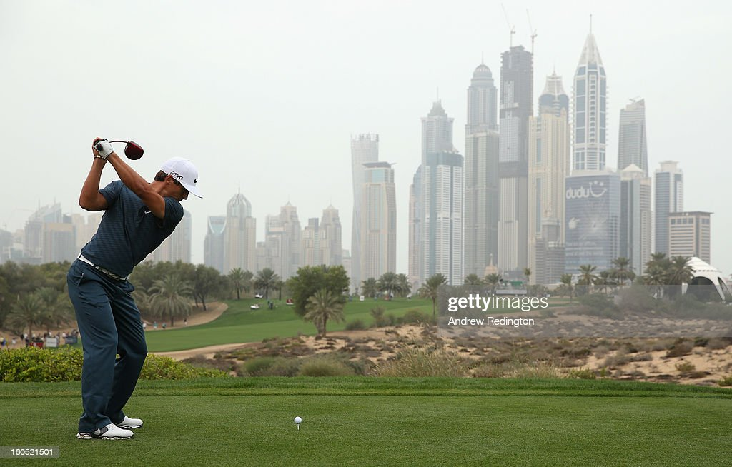 Thorbjorn Olesen of Denmark hits his tee-shot on the eighth hole during the third round of the Omega Dubai Desert Classic at Emirates Golf Club on February 2, 2013 in Dubai, United Arab Emirates.