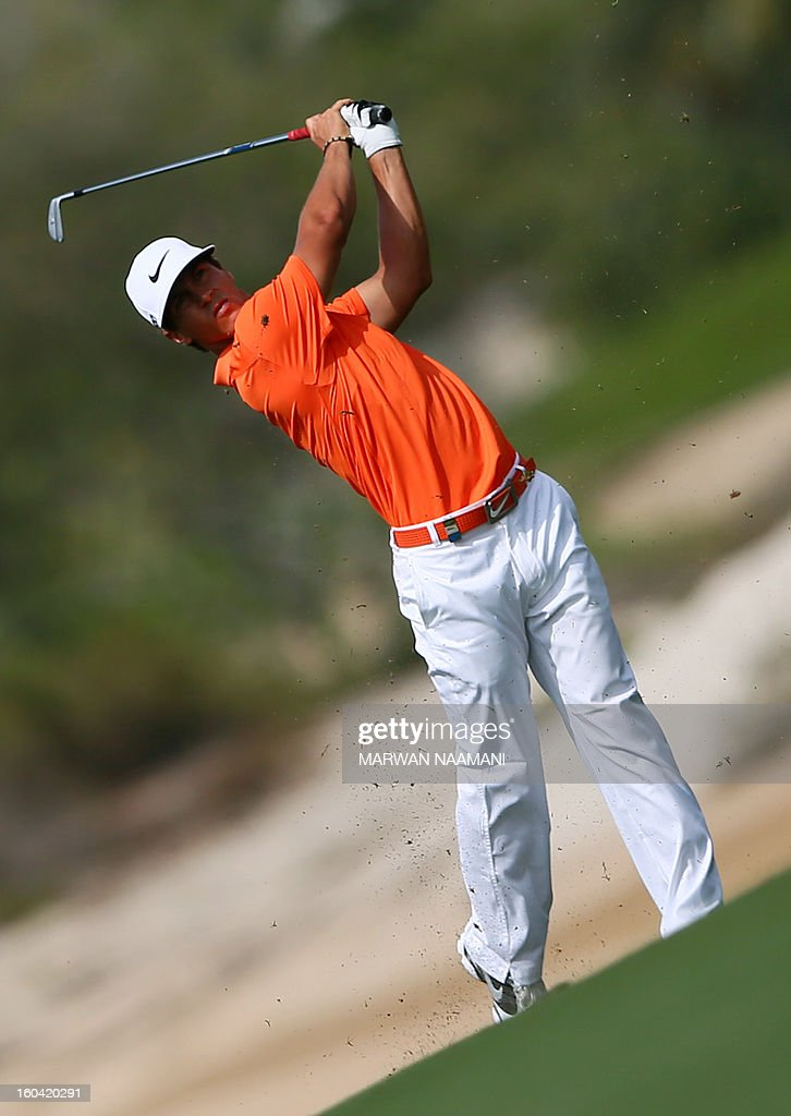 Thorbjorn Olesen of Denmark hits off the tee box during the first round of the Dubai Desert Classic golf tournament in the Gulf emirate of Dubai on January 31, 2013.