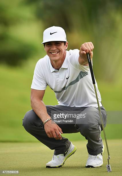 Thorbjorn Olesen of Denmark looks happy during the second round of the AfrAsia Bank Mauritius Open at Heritage Golf Club on May 8 2015 in Bel Ombre...