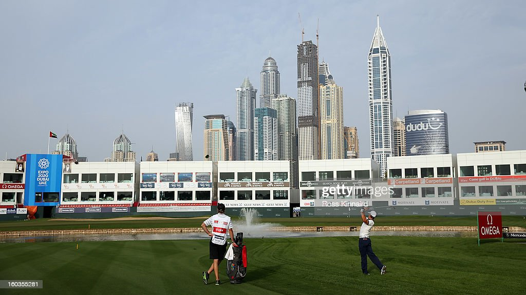 Thorbjorn Olesen of Denmark on the par five 18th hole during the pro-am event prior to the Omega Dubai Desert Classic on January 30, 2013 in Dubai, United Arab Emirates.