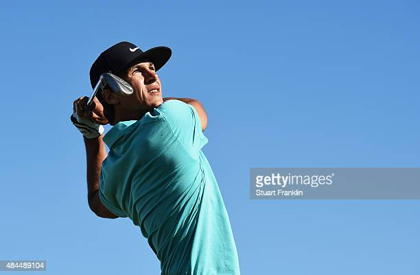 Thorbjorn Olesen of Denmark plays a shot during the Pro Am prior to the start of the Made in Denmark golf at Himmerland Golf Spa Resort on August 19...