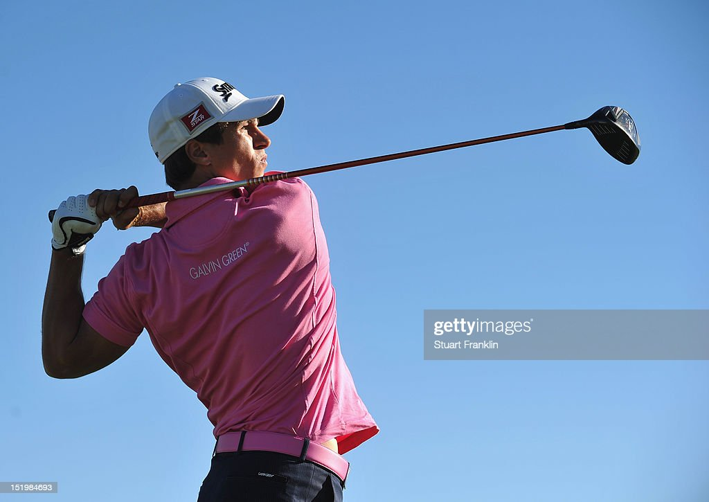Thorbjorn Olesen of Denmark plays a shot during the second round of the BMW Italian open at Royal Park Golf & Country Club on September 14, 2012 in Turin, Italy.