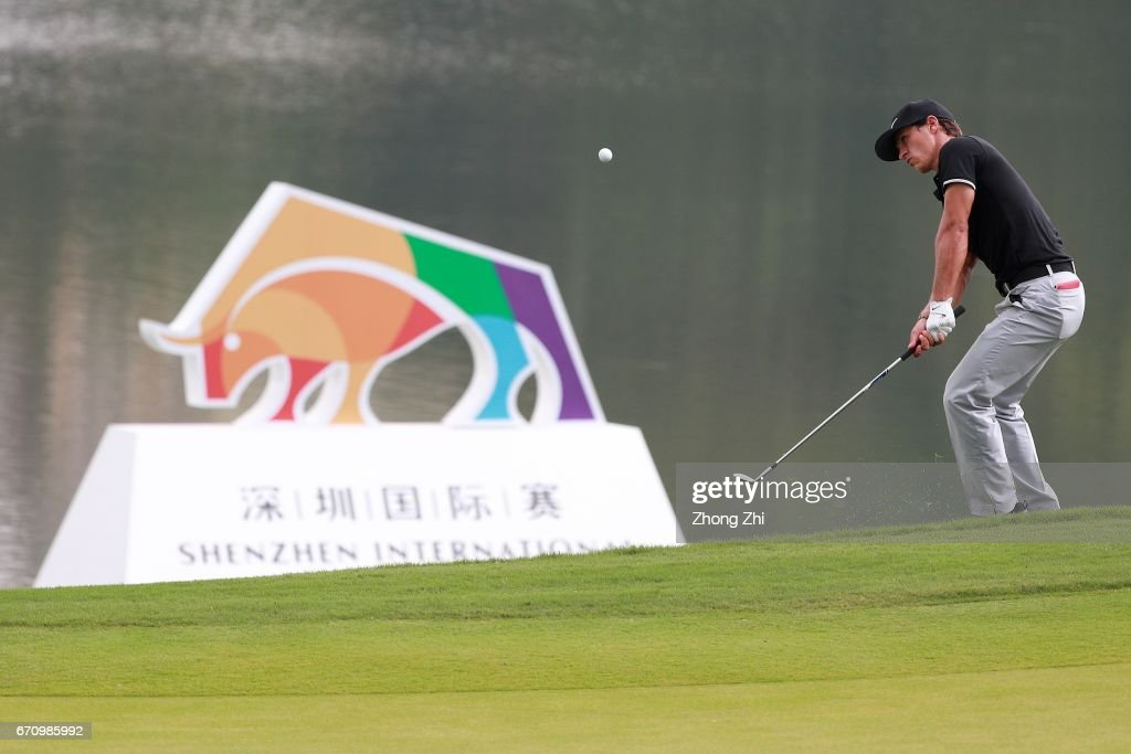 Thorbjorn Olesen of Denmark plays a shot during the second round of the Shenzhen International at Genzon Golf Club on April 21, 2017 in Shenzhen, China.
