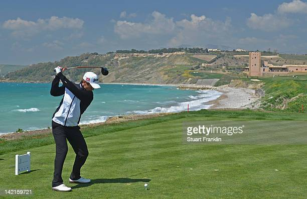 Thorbjorn Olesen of Denmark plays a shot during the third round of the Sicilian Open at Verdura Golf and Spa Resort on March 31 2012 in Sciacca Italy