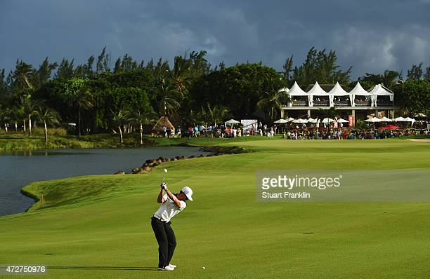 Thorbjorn Olesen of Denmark plays a shot on the 18th hole during the third round of the AfrAsia Bank Mauritius Open at Heritage Golf Club on May 9...