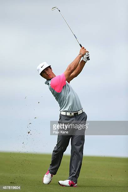 Thorbjorn Olesen of Denmark plays his second shot on the 18th hole during day three of the 2014 Perth International at Lake Karrinyup Country Club on...