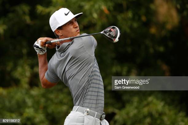 Thorbjorn Olesen of Denmark plays his shot from the second tee during the first round of the 2017 PGA Championship at Quail Hollow Club on August 10...