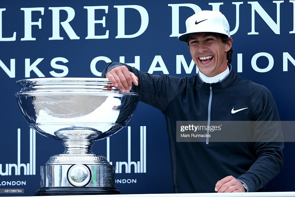 <a gi-track='captionPersonalityLinkClicked' href=/galleries/search?phrase=Thorbjorn+Olesen&family=editorial&specificpeople=6545194 ng-click='$event.stopPropagation()'>Thorbjorn Olesen</a> of Denmark poses with the trophy on the 18th green after victory in the 2015 Alfred Dunhill Links Championship at The Old Course on October 4, 2015 in St Andrews, Scotland.