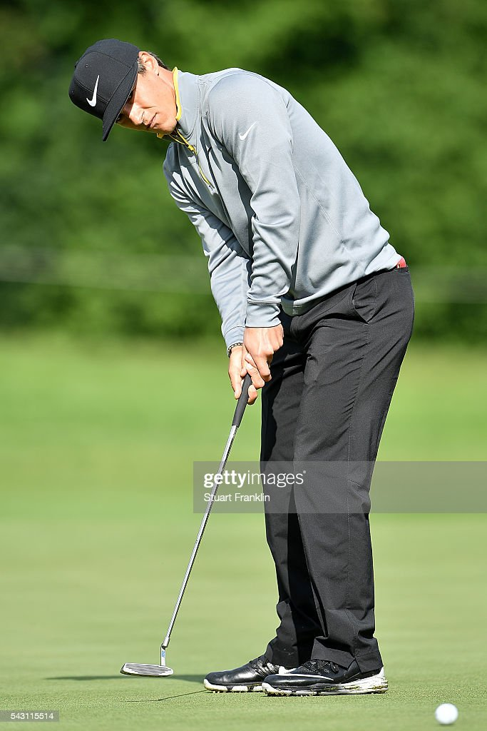 Thorbjorn Olesen of Denmark putts during the rain delayed third round of the BMW International Open at Gut Larchenhof on June 26, 2016 in Cologne, Germany.