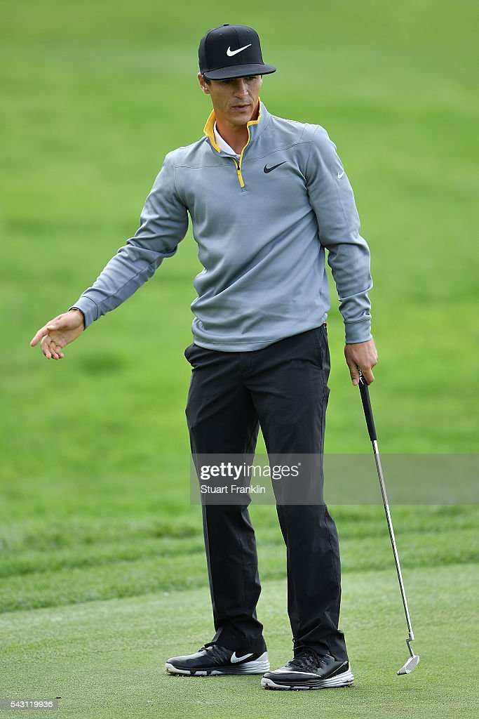 <a gi-track='captionPersonalityLinkClicked' href=/galleries/search?phrase=Thorbjorn+Olesen&family=editorial&specificpeople=6545194 ng-click='$event.stopPropagation()'>Thorbjorn Olesen</a> of Denmark reacts during the rain delayed third round of the BMW International Open at Gut Larchenhof on June 26, 2016 in Cologne, Germany.
