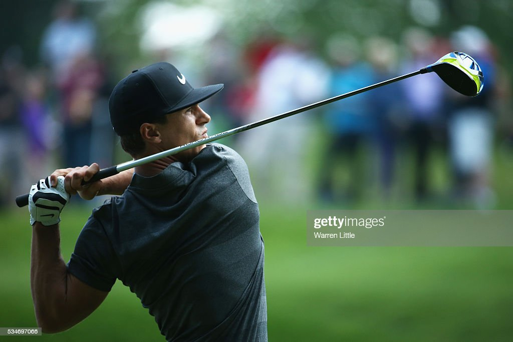 Thorbjorn Olesen of Denmark tees off during day two of the BMW PGA Championship at Wentworth on May 27, 2016 in Virginia Water, England.