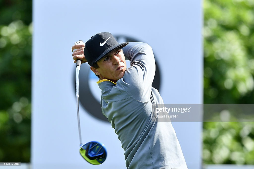 <a gi-track='captionPersonalityLinkClicked' href=/galleries/search?phrase=Thorbjorn+Olesen&family=editorial&specificpeople=6545194 ng-click='$event.stopPropagation()'>Thorbjorn Olesen</a> of Denmark tees off during the rain delayed third round of the BMW International Open at Gut Larchenhof on June 26, 2016 in Cologne, Germany.