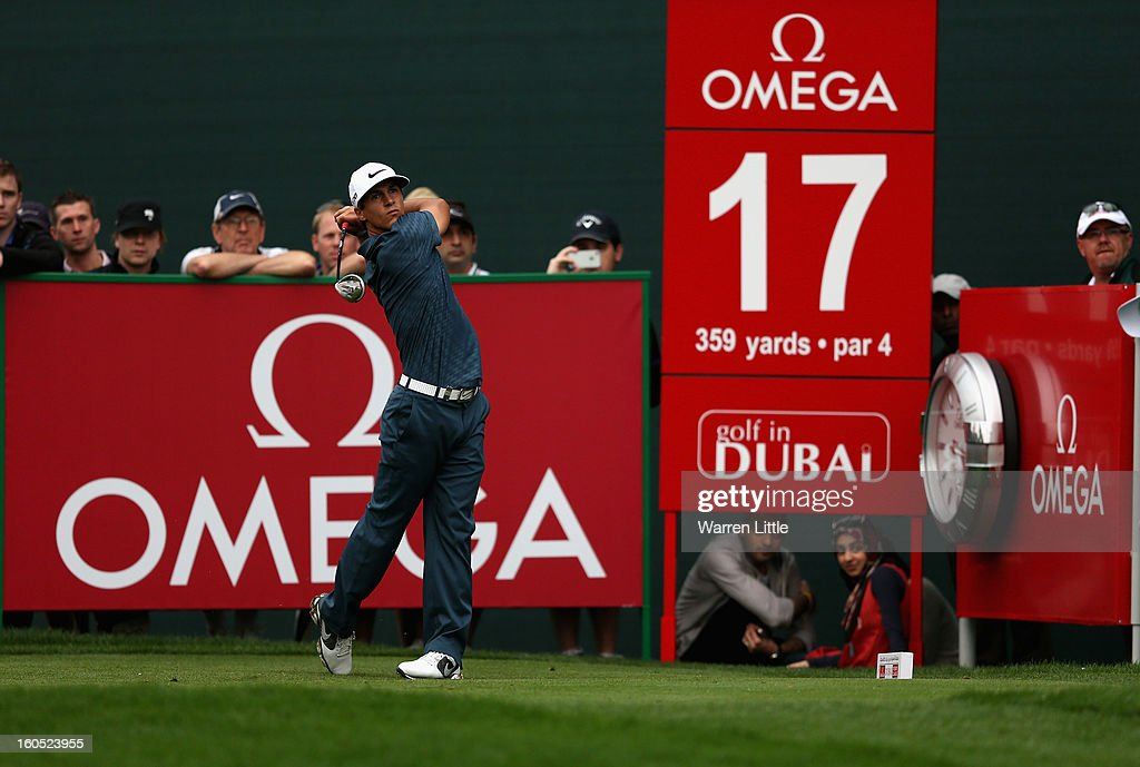 Thorbjorn Olesen of Denmark tees off on the 17th hole during the third round of the Omega Dubai Desert Classic at Emirates Golf Club on February 2, 2013 in Dubai, United Arab Emirates.
