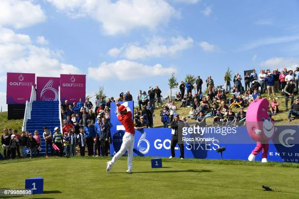 Thorbjorn Olesen of Denmark tees off on the 1st hole during the final match between Denmark and Australia during day two of GolfSixes at The...