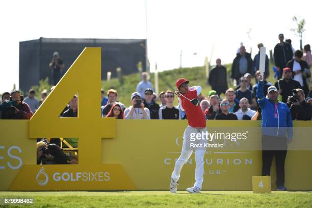 Thorbjorn Olesen of Denmark tees off on the 4th hole during the final match between Denmark and Australia during day two of GolfSixes at The...