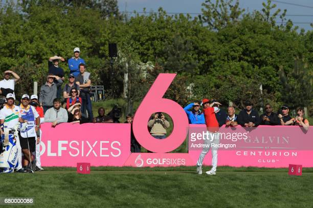 Thorbjorn Olesen of Denmark tees off on the 6th hole during the final match between Denmark and Australia during day two of GolfSixes at The...