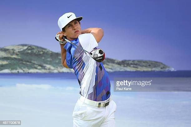 Thorbjorn Olesen of Denmark watches his tee shot on the 15th hole during day one of the 2014 Perth International at Lake Karrinyup Country Club on...