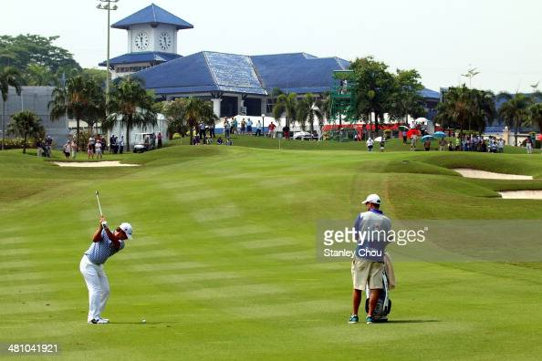 Thorbjorn Olesen of Team Europe in actions in the foursome matches against Team Asia during day two of the EurAsia Cup at Glenmarie GCC on March 28...