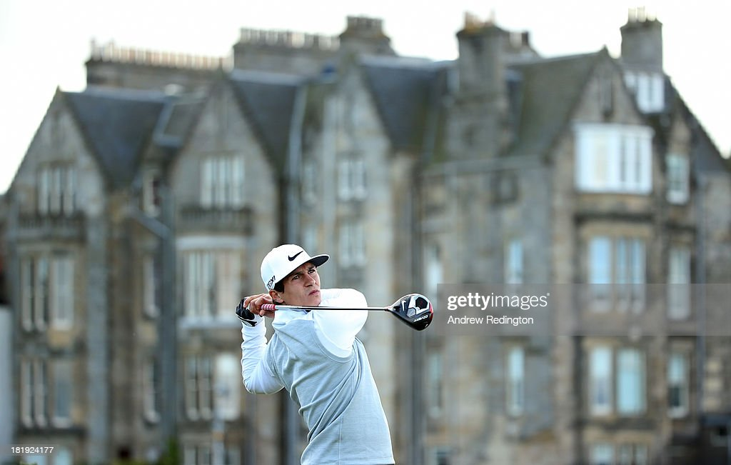 Thorbjorn Olsesen of Denmark plays off the second tee during the first round of the Alfred Dunhill Links Championship on The Old Course, at St Andrews on September 26, 2013 in St Andrews, Scotland.