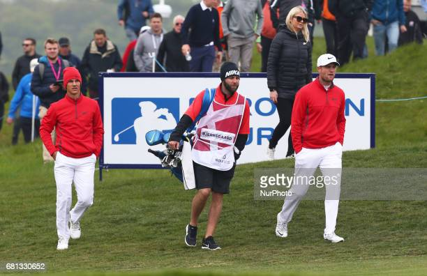 LR Thorbjrn Olesen of Denmark and Lucas Bjerregaard of Denmark during The Group A between Denmark and The Netherlands during day one of GolfSixes at...